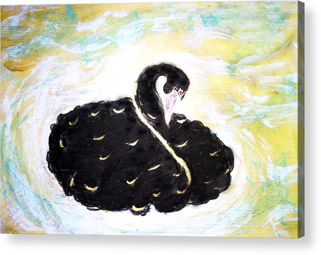 Swan Acrylic Print featuring the painting Black Swan by Michela Akers