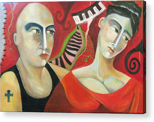 Man Woman Cubist Music Piano Red Cross Acrylic Print featuring the painting Corazon Pesado by Niki Sands