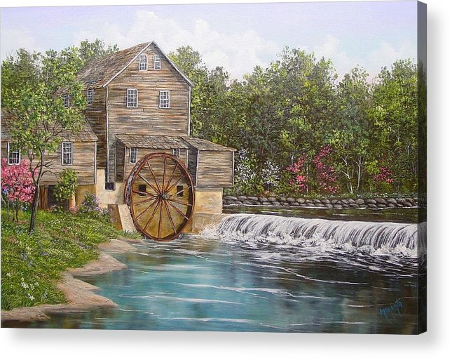 Landscape Acrylic Print featuring the painting Pigeon Forge Mill by Marveta Foutch