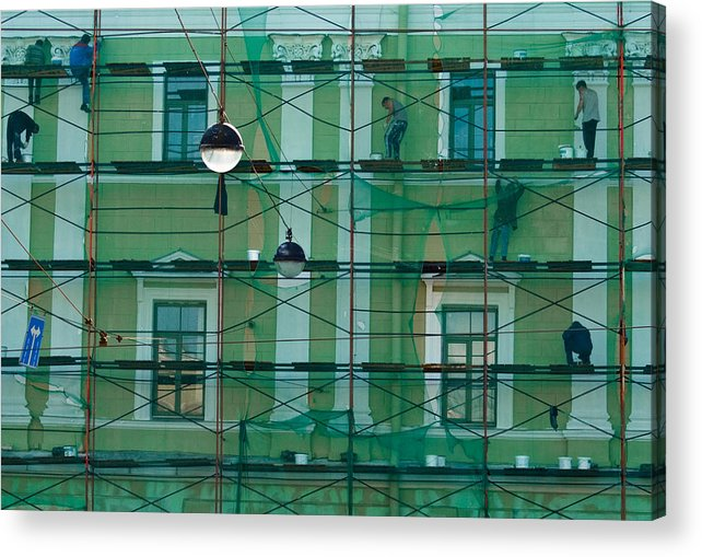 People Acrylic Print featuring the photograph Web And Spiders by Vadim Grabbe