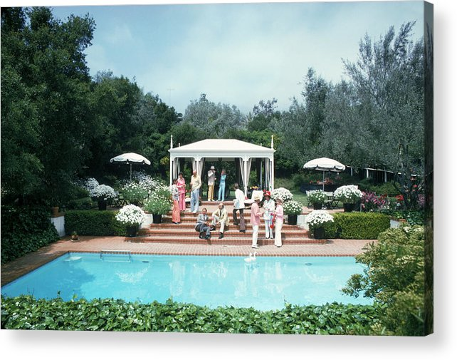 People Acrylic Print featuring the photograph California Pool Party by Slim Aarons