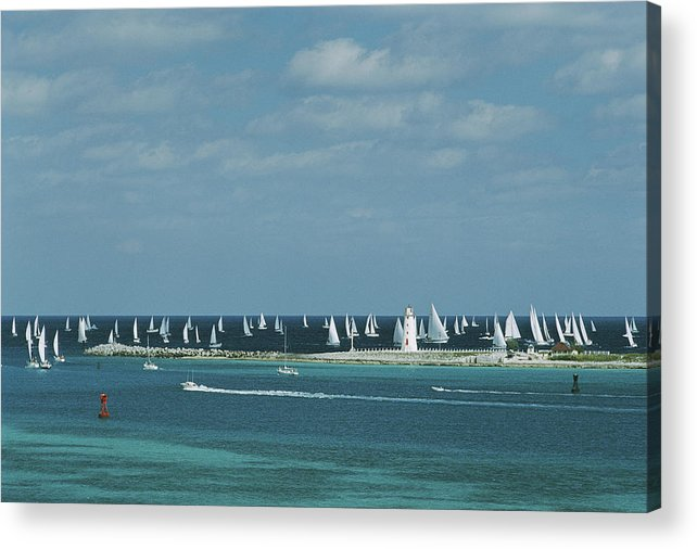 Motorboat Acrylic Print featuring the photograph Nassau Sailing by Slim Aarons