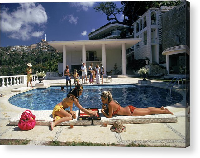 People Acrylic Print featuring the photograph Poolside Backgammon by Slim Aarons