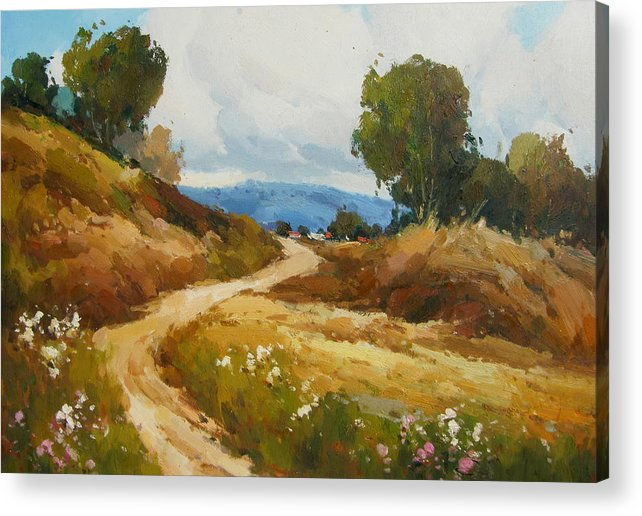 Landscape Acrylic Print featuring the painting Back Roads by Imagine Art Works Studio