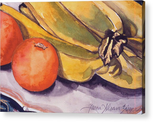 Still-life Acrylic Print featuring the painting Bananas And Blood Oranges Still-life by Caron Sloan Zuger