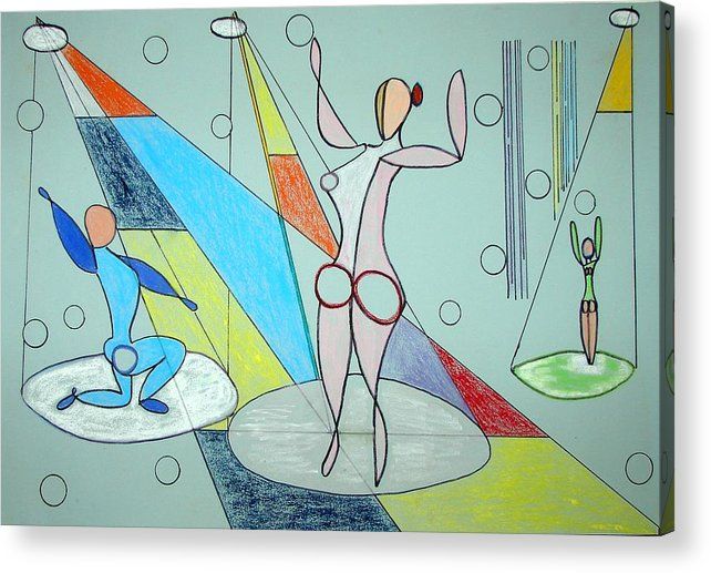 Juggling Acrylic Print featuring the drawing The Jugglers by J R Seymour
