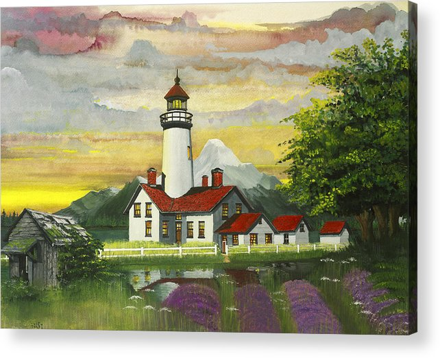 Northwest Lighthouses Acrylic Print featuring the painting Fanciful New Dungeness by James Lyman