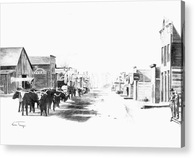 Western Acrylic Print featuring the drawing Miles City 1883 by Karen Elkan