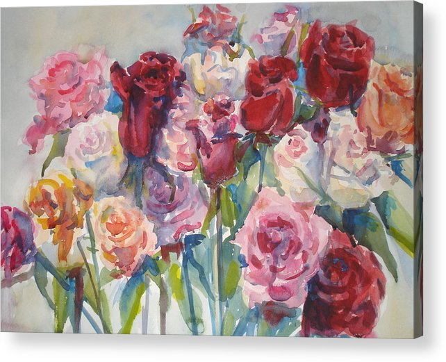 Roses Acrylic Print featuring the painting Paul's Roses II by Joyce Kanyuk