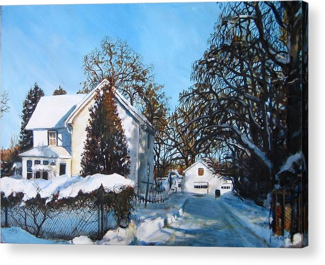Landscape Acrylic Print featuring the painting Winter Drive by William Brody