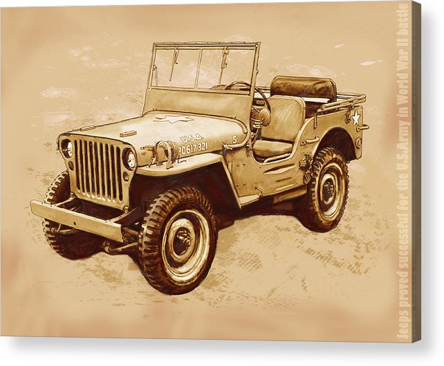 Us Army Jeep In World War 2 - Stylised Modern Drawing Art Sketch Acrylic Print featuring the drawing Us Army Jeep In World War 2 - Stylised Modern Drawing Art Sketch by Kim Wang