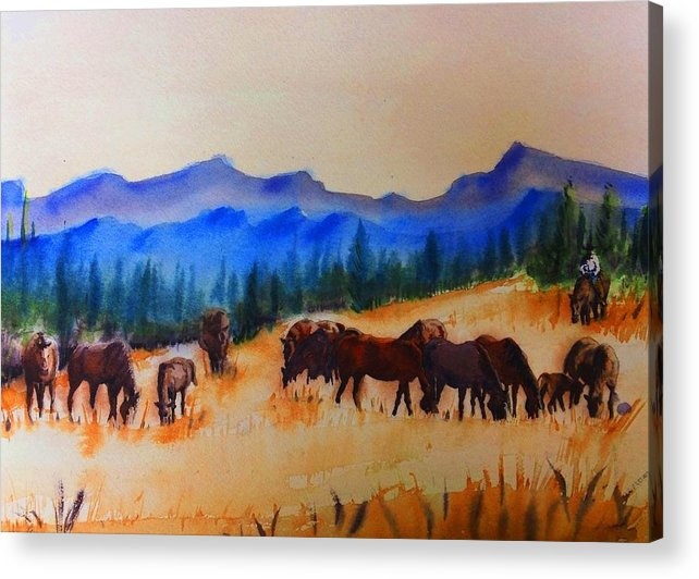 Herd Acrylic Print featuring the painting watch I by Luis Leon