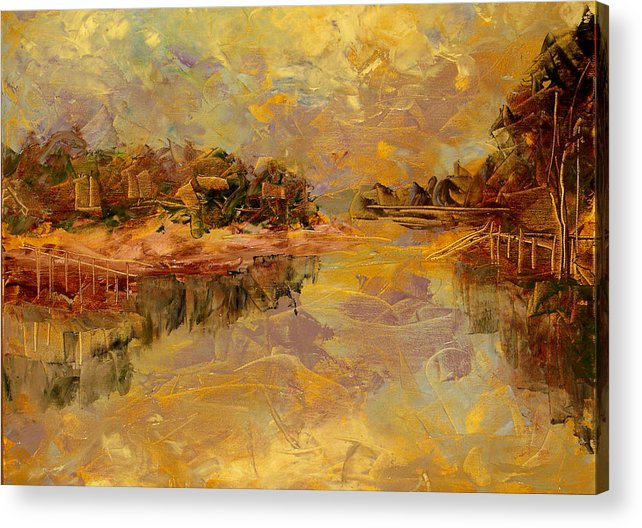 Landscape Acrylic Print featuring the painting Bass River by Olga Gernovski