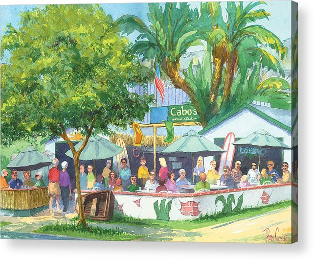 Cafe Acrylic Print featuring the painting Cabos Bar And Grill by Ray Cole