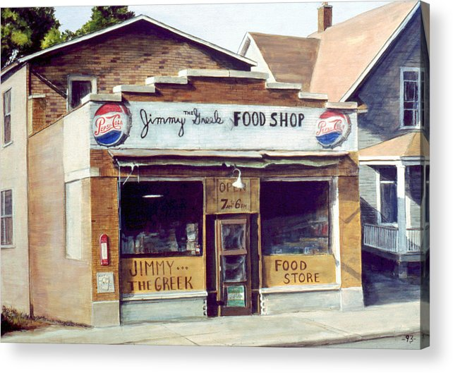 Small Town Acrylic Print featuring the painting Jimmy The Greek by William Brody