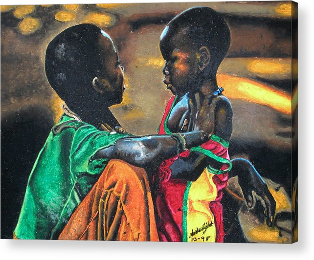 Black Art Acrylic Print featuring the pastel My Brothers Keeper by Andre Ajibade
