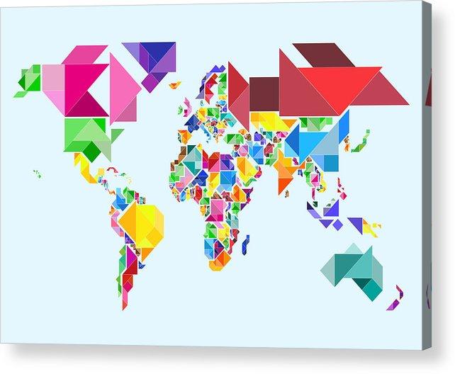Tangram Map Acrylic Print featuring the digital art Tangram Abstract World Map by Michael Tompsett