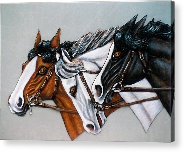 Horses Acrylic Print featuring the painting The Winner Is. by Lilly King