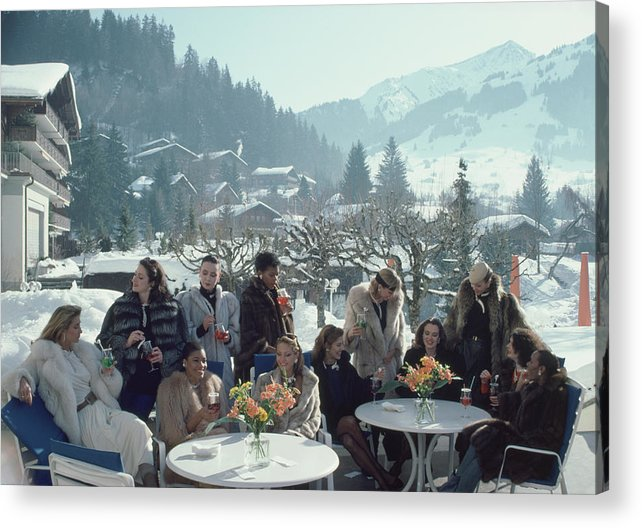 Gstaad Acrylic Print featuring the photograph Drinks At Gstaad by Slim Aarons