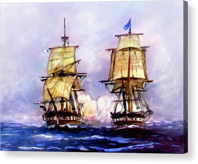 11 July Acrylic Print featuring the painting Tall Ships Uss Essex Captures Hms Alert by Bob and Nadine Johnston