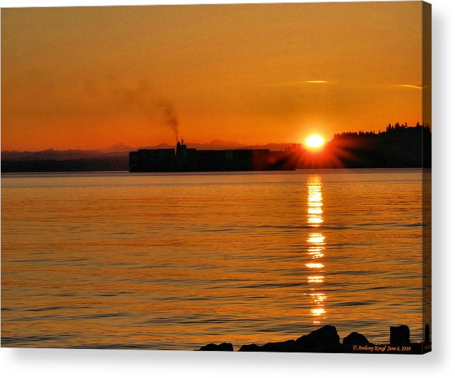 Sunrise Acrylic Print featuring the photograph Ship Meets Sunrise by Anthony Kougl