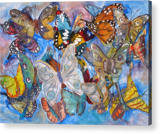 Butterfly Acrylic Print featuring the mixed media Butterfly Collage by Joyce Kanyuk