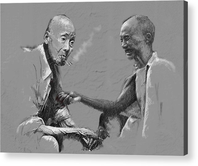 Chinise Men Acrylic Print featuring the painting Smoke Time by James Robinson