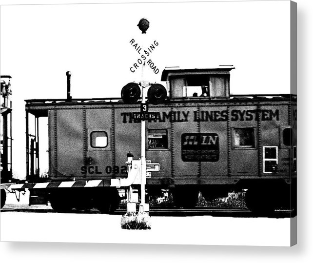 Black And White Acrylic Print featuring the photograph Train Tryptic C Of C by Richard Gerken