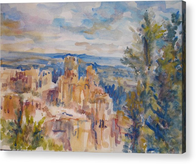 Landscape Acrylic Print featuring the painting Bryce Canyon by Joyce Kanyuk