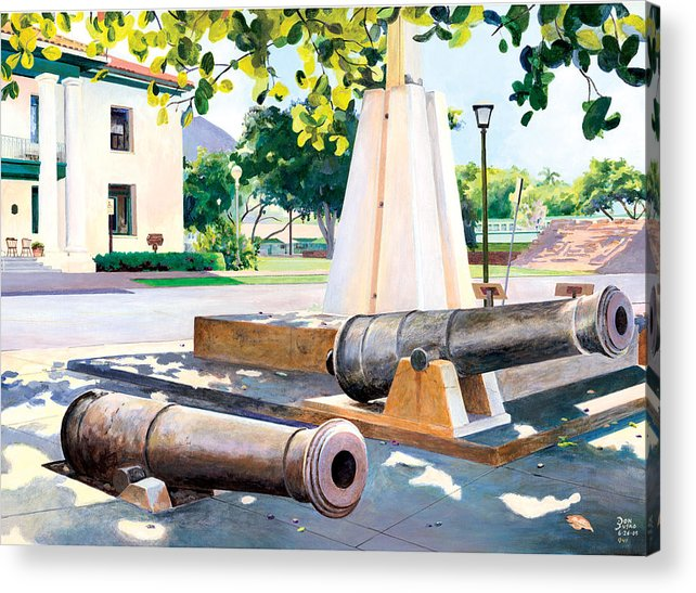 Lahaina Maui Cannons Acrylic Print featuring the painting Lahaina 1812 Cannons by Don Jusko
