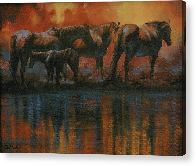 Horses Acrylic Print featuring the painting Simmerdim by Mia DeLode