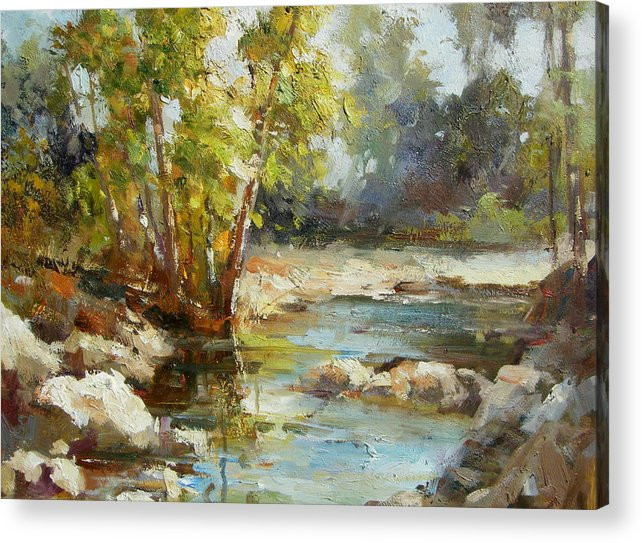Landscape Acrylic Print featuring the painting A Place For Dreaming by Imagine Art Works Studio