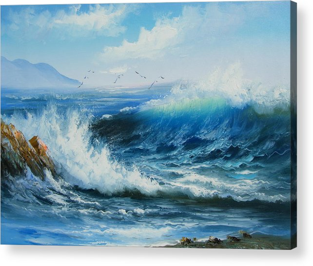 Seascape Acrylic Print featuring the painting Breaking Up Is Hard To Do by Imagine Art Works Studio