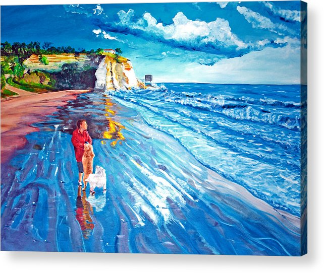 Seascape Acrylic Print featuring the painting Contemplation by Aymeric NOA