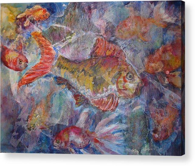 Fish Acrylic Print featuring the mixed media Fish Fantasy by Joyce Kanyuk