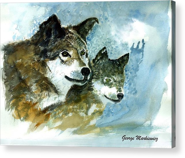 Wolves Acrylic Print featuring the print Leader Of The Pack by George Markiewicz