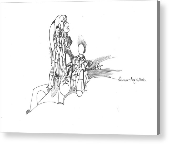 Lines Acrylic Print featuring the drawing Lines Faces And Forms by Padamvir Singh
