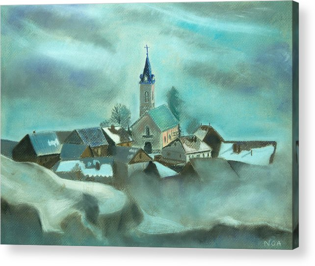 Village Acrylic Print featuring the pastel My Village by Aymeric NOA