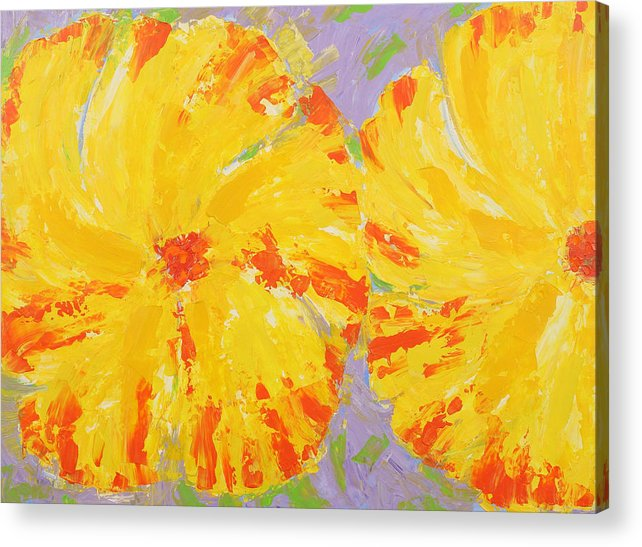 Contemporary Floral Painting Acrylic Print featuring the painting One And A Half Flowers by Susan Rinehart