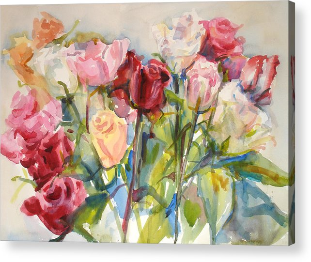 Roses Acrylic Print featuring the painting Paul's Roses by Joyce Kanyuk