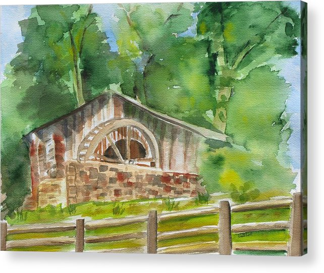 Landscape Acrylic Print featuring the painting The Old Mill by Kathy Mitchell