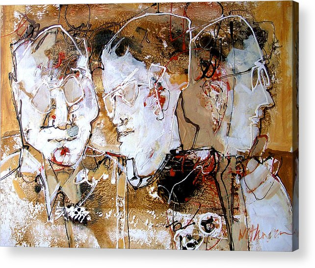 Figures Acrylic Print featuring the painting Three Advisors by Dale Witherow