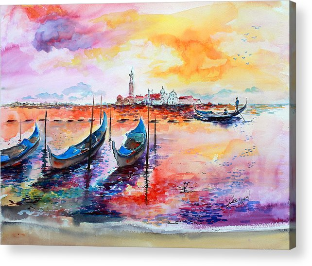 Venice Acrylic Print featuring the painting Venice Italy Gondola Ride by Ginette Callaway