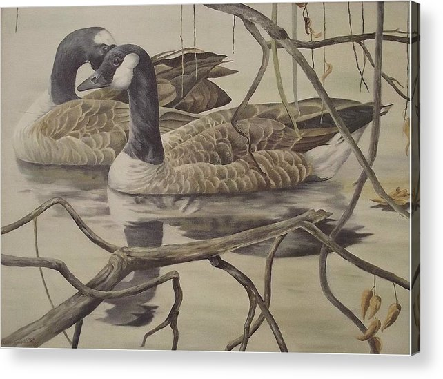 Water Acrylic Print featuring the painting A Pair Of Ducks by Wanda Dansereau