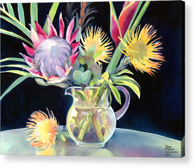 Copal Oil Acrylic Print featuring the painting Anna's Protea Flowers Transparent by Don Jusko