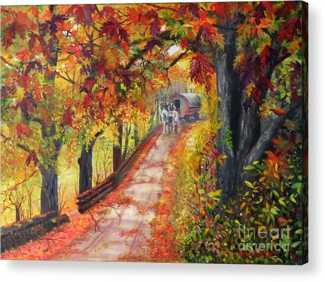 Scenery Acrylic Print featuring the painting Autumn Dreams by Lora Duguay