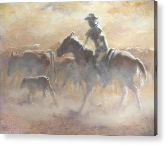 Cowboys Acrylic Print featuring the painting Burning Daylight by Mia DeLode