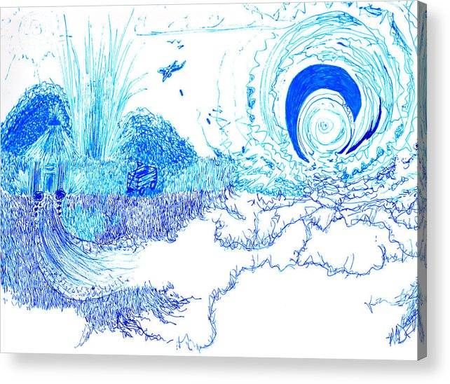 Blue Acrylic Print featuring the drawing Drop The Bomb Son by Nicole DePreker