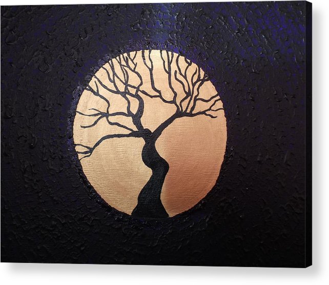 Tree Of Life Acrylic Print featuring the painting Tree Of Life Purple With Gold Moon by Theresa Shaw