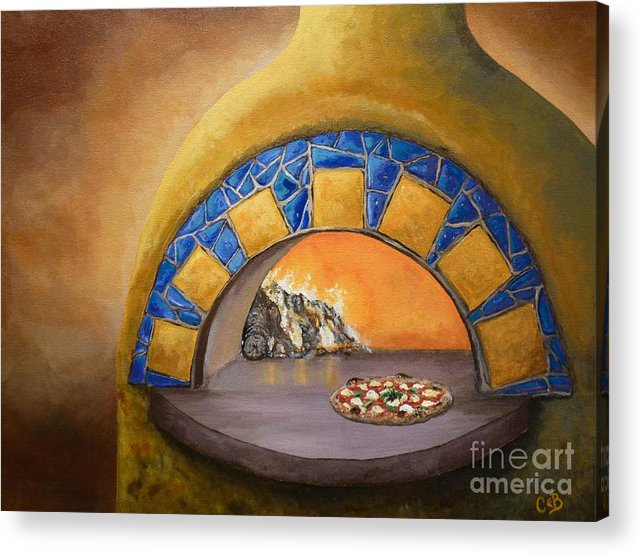 Pizza Acrylic Print featuring the painting Wood Fired by Chad Berglund